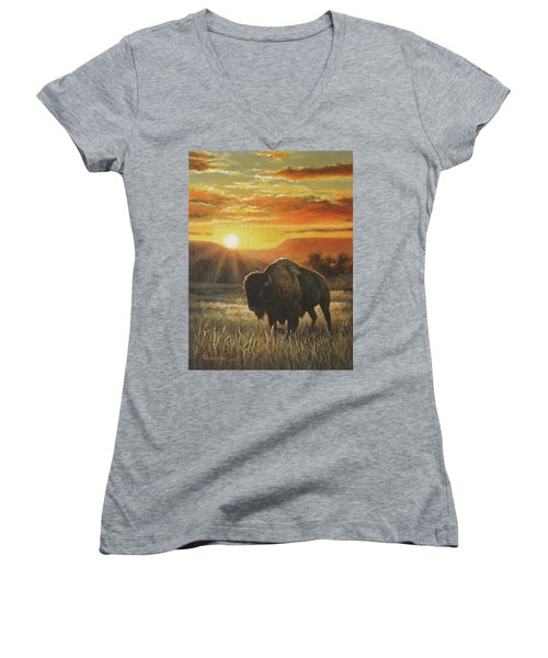 Women's V-Neck T-Shirt (Junior Cut) featuring the painting Sunset In Bison Country by Kim Lockman