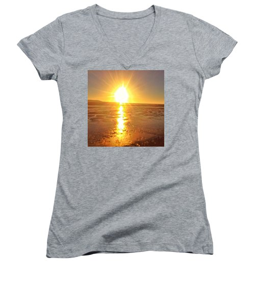 Sunset In College. #sunset  #sun Women's V-Neck