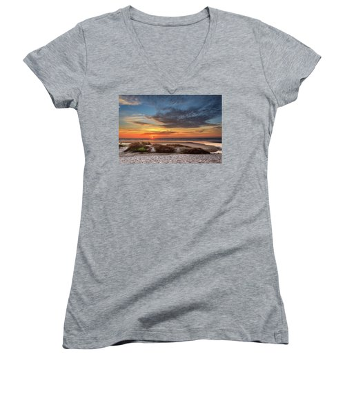 Women's V-Neck T-Shirt featuring the photograph Sunset In Florence by James Eddy