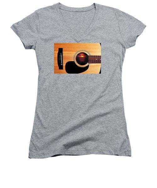 Sunset In Guitar Women's V-Neck T-Shirt