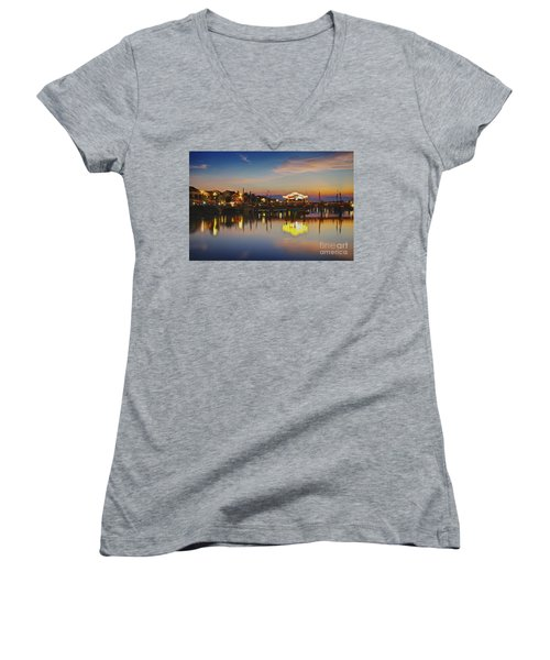 Sunset In Hoi An Vietnam Southeast Asia Women's V-Neck