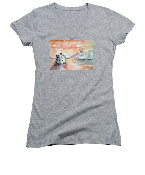 Sunset In Istanbul... Women's V-Neck (Athletic Fit)