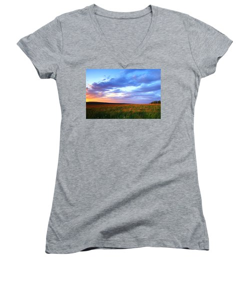 Sunset In Ithaca South Hill Women's V-Neck T-Shirt (Junior Cut) by Paul Ge
