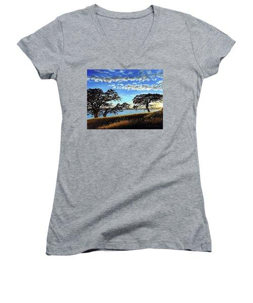 Sunset In Lucerne Women's V-Neck T-Shirt (Junior Cut) by Linda Becker