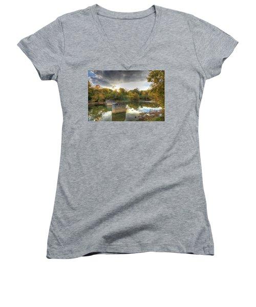 Sunset In Murphy Women's V-Neck T-Shirt (Junior Cut) by Sharon Batdorf