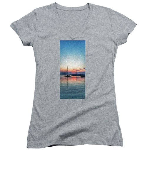 Sunset In Oil Tarpaulin Cove Women's V-Neck (Athletic Fit)