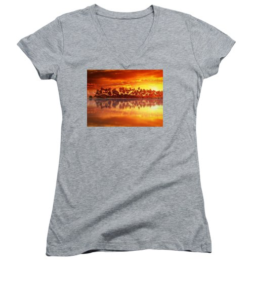 Sunset In Paradise Women's V-Neck T-Shirt (Junior Cut) by Gabriella Weninger - David