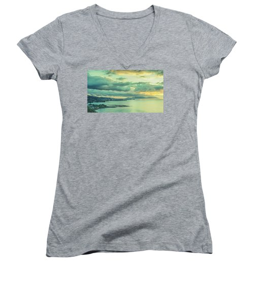 Women's V-Neck T-Shirt featuring the photograph Sunset In Tahiti by Gary Slawsky