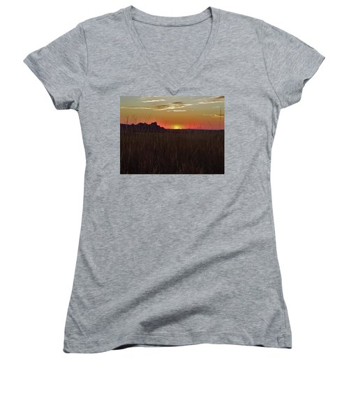 Sunset In The Badlands Women's V-Neck