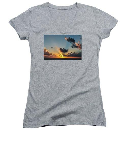 Sunset In The Caribbean Sea Women's V-Neck T-Shirt