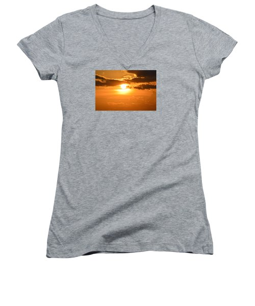 Women's V-Neck T-Shirt (Junior Cut) featuring the photograph Sunset In The Clouds  by Lyle Crump