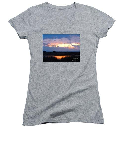 Sunset In The River Sea Beyond Women's V-Neck T-Shirt (Junior Cut) by Expressionistart studio Priscilla Batzell