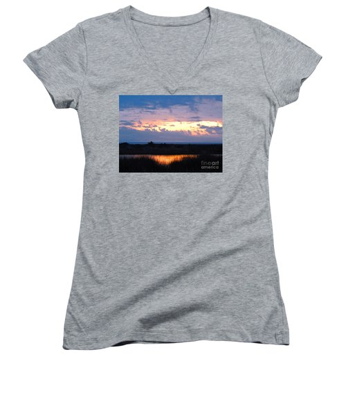 Sunset In The River Sea Beyond Women's V-Neck T-Shirt