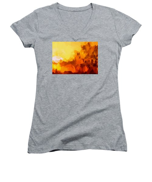 Sunset In Valhalla Women's V-Neck (Athletic Fit)