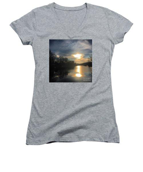 Sunset  Women's V-Neck T-Shirt (Junior Cut) by Jason Nicholas