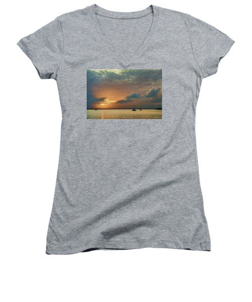 Sunset, Key Largo Women's V-Neck T-Shirt (Junior Cut) by Dana Sohr