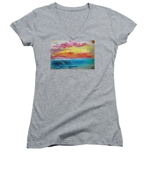 Sunset Lagoon Women's V-Neck (Athletic Fit)