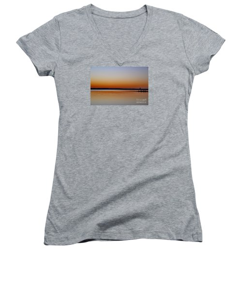 Women's V-Neck T-Shirt (Junior Cut) featuring the photograph Sunset Lake Texhoma by Diana Mary Sharpton