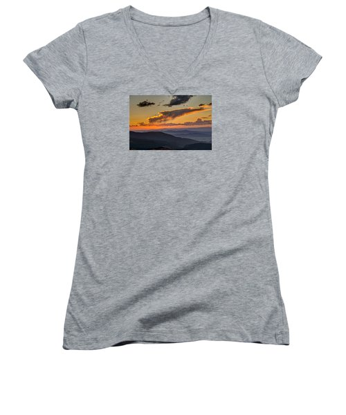 Women's V-Neck featuring the photograph Sunset Layers by David R Robinson