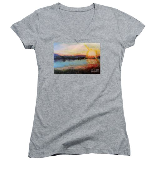 Women's V-Neck T-Shirt (Junior Cut) featuring the painting Sunset by Marlene Book