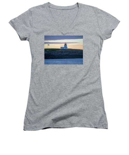 Women's V-Neck T-Shirt (Junior Cut) featuring the photograph Sunset Nova Scotia  by Trace Kittrell