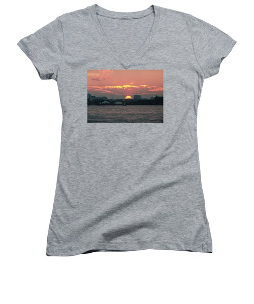 Sunset Nyc Harbor Women's V-Neck (Athletic Fit)