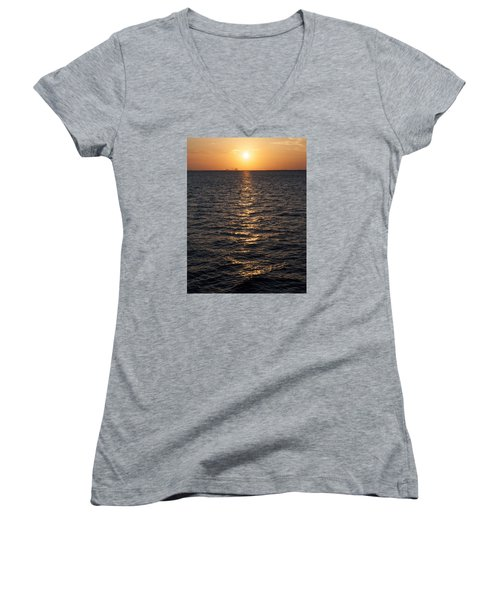 Sunset On Bay Women's V-Neck (Athletic Fit)