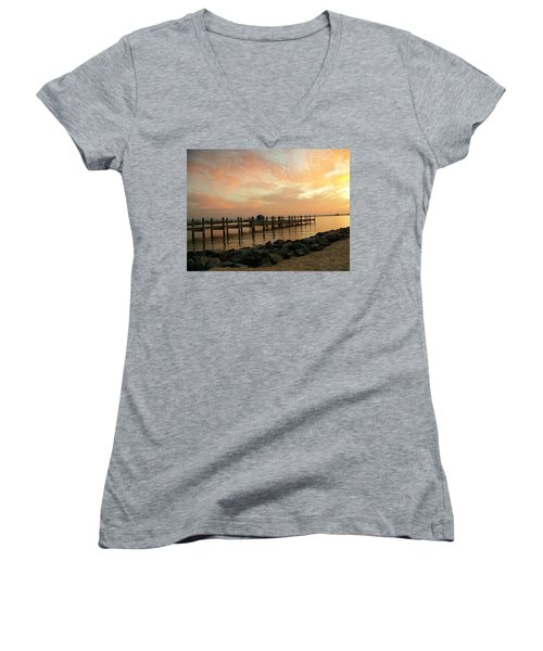 Sunset On Dewey Bay Women's V-Neck T-Shirt