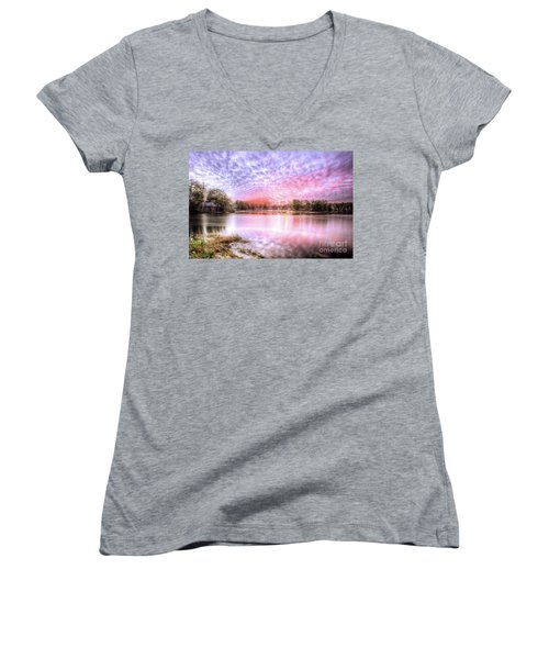Sunset On Flint Creek Women's V-Neck T-Shirt (Junior Cut) by Maddalena McDonald