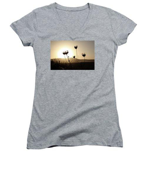 Sunset On Galilee Road Women's V-Neck T-Shirt (Junior Cut) by Yoel Koskas