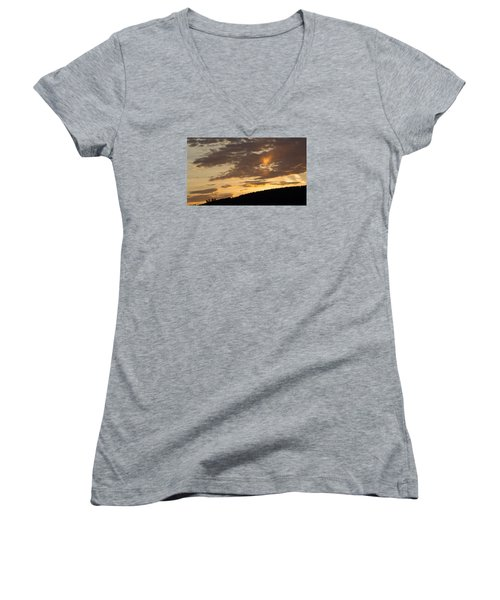 Sunset On Hunton Lane #5 The Heart Knows Women's V-Neck T-Shirt (Junior Cut) by Carlee Ojeda