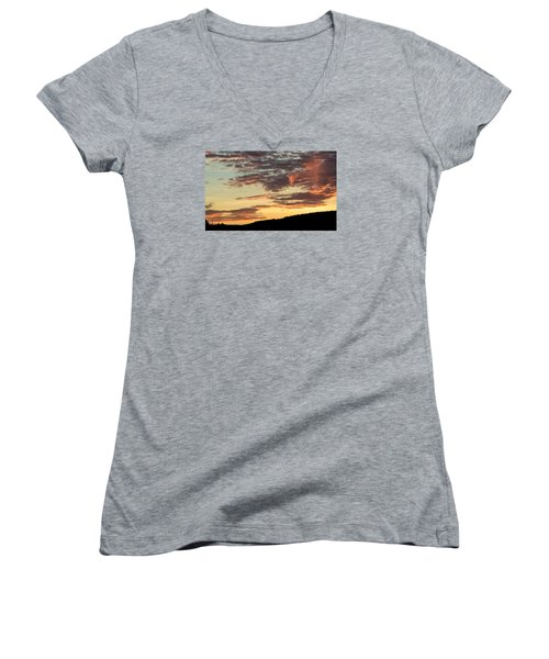 Sunset On Hunton Lane #6 In The Company Of Angels Women's V-Neck (Athletic Fit)