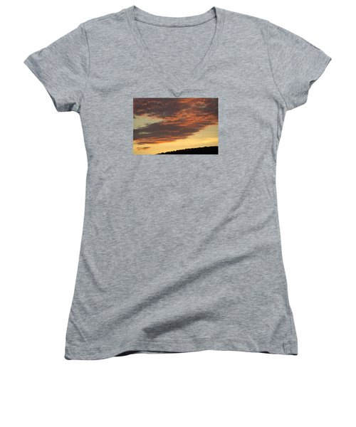 Sunset On Hunton Lane #7 Women's V-Neck T-Shirt (Junior Cut) by Carlee Ojeda