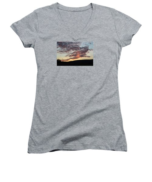 Sunset On Hunton Lane #9 Women's V-Neck T-Shirt (Junior Cut) by Carlee Ojeda