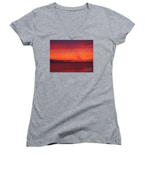 Sunset On Jersey Shore Women's V-Neck