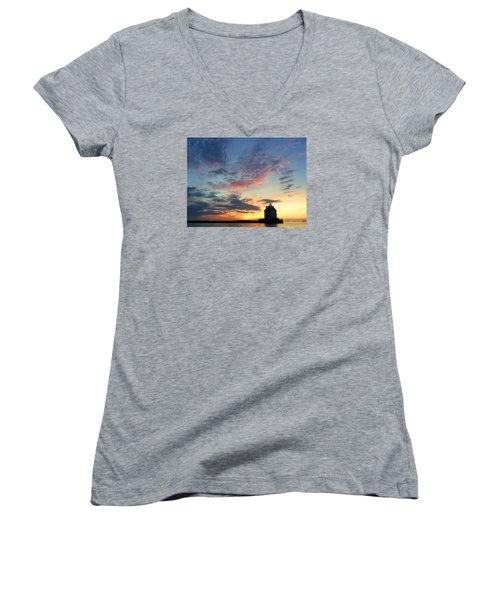 Sunset On Lighthouse Women's V-Neck (Athletic Fit)