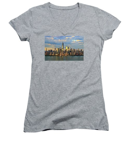 Sunset On Lower Manhattan Women's V-Neck
