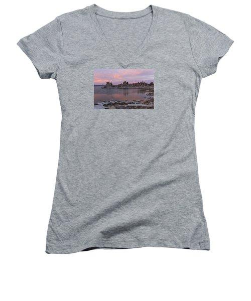 Sunset On Mono Lake Women's V-Neck T-Shirt (Junior Cut) by Sandra Bronstein
