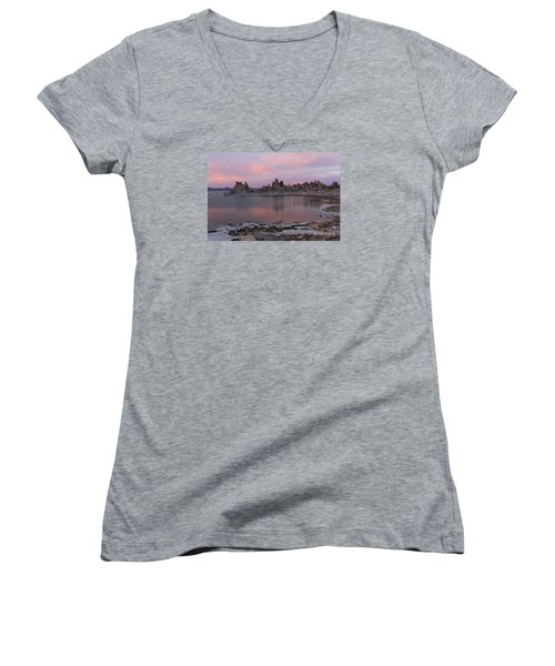 Sunset On Mono Lake Women's V-Neck T-Shirt