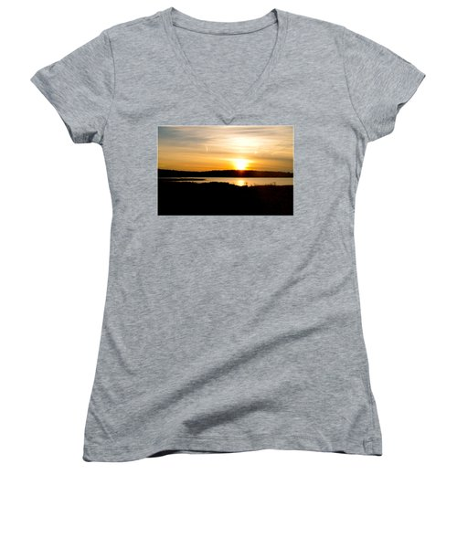 Sunset On Morrison Beach Women's V-Neck (Athletic Fit)