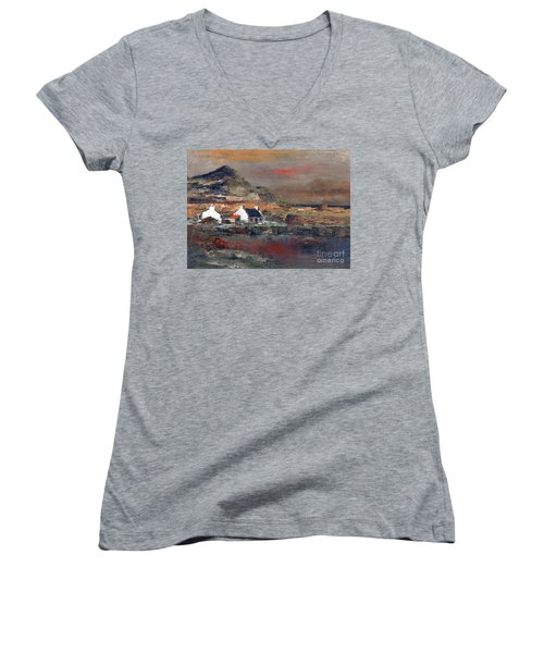 Sunset On Mount Errigal, Dunegal Women's V-Neck
