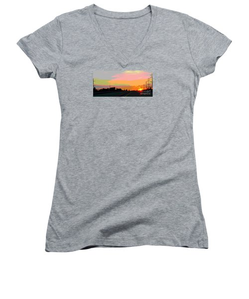 Sunset On Ol' 66 Women's V-Neck T-Shirt