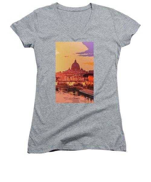 Sunset On Rome The Eternal City Women's V-Neck
