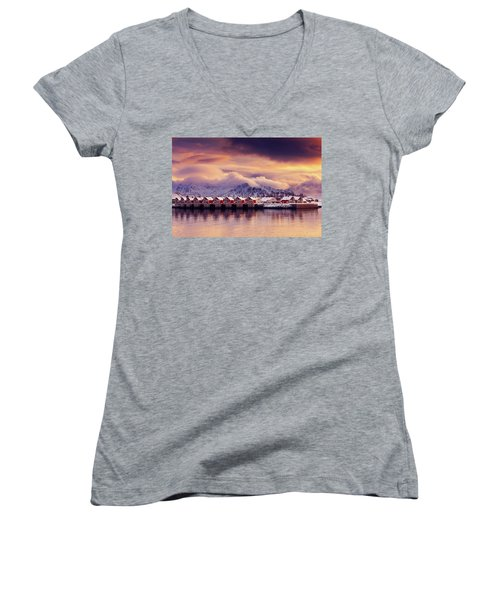 Sunset On Svolvaer Women's V-Neck T-Shirt