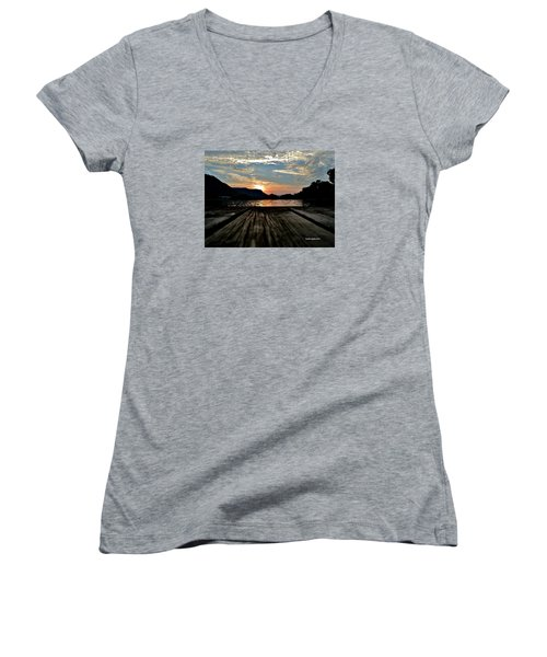 Sunset On The Dock Women's V-Neck (Athletic Fit)
