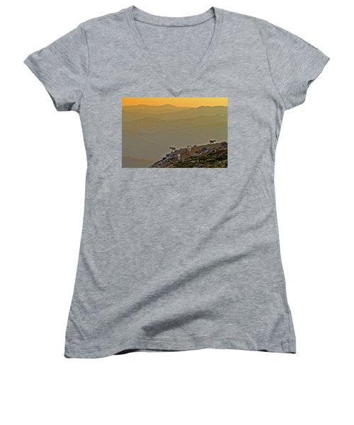 Women's V-Neck T-Shirt (Junior Cut) featuring the photograph Sunset On The Edge by Scott Mahon
