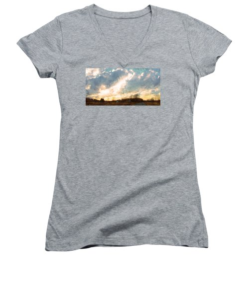 Sunset On The Farm Women's V-Neck T-Shirt