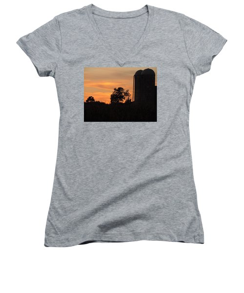 Women's V-Neck T-Shirt (Junior Cut) featuring the photograph Sunset On The Farm by Teresa Schomig