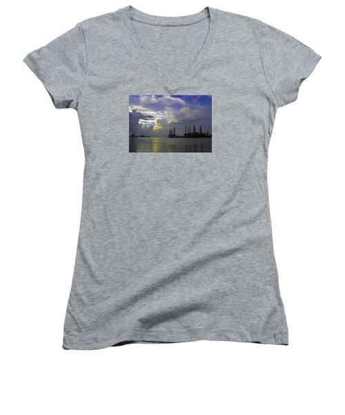 Sunset On The Harbor Women's V-Neck T-Shirt