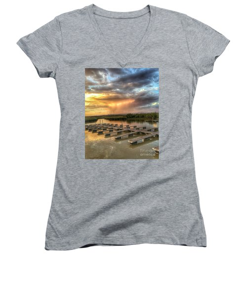 Sunset On The Marsh Women's V-Neck T-Shirt
